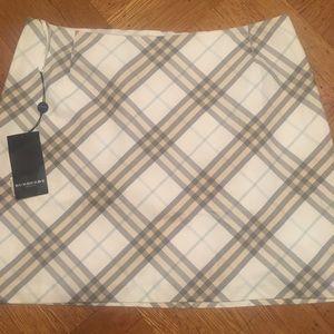 Burberry Gray/White Check Mini Skirt